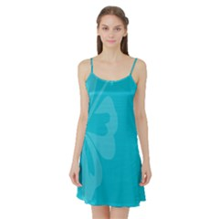 Hibiscus Sakura Scuba Blue Satin Night Slip
