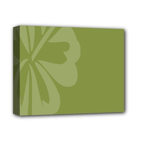 Hibiscus Sakura Woodbine Green Deluxe Canvas 14  x 11