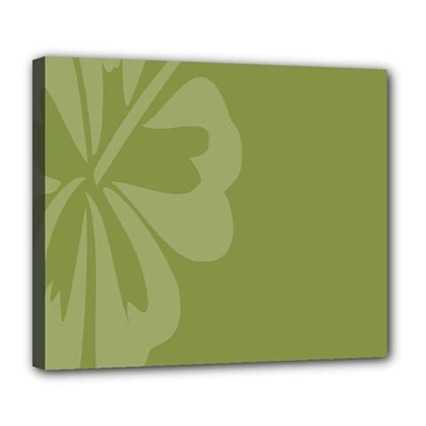 Hibiscus Sakura Woodbine Green Deluxe Canvas 24  x 20