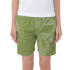 Hibiscus Sakura Woodbine Green Women s Basketball Shorts