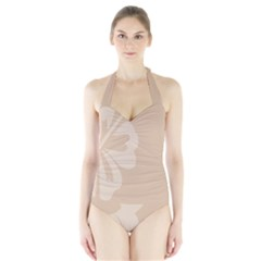 Hibiscus Sakura Toasted Almond Grey Halter Swimsuit