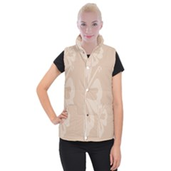Hibiscus Sakura Toasted Almond Grey Women s Button Up Puffer Vest