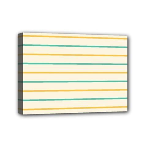 Horizontal Line Yellow Blue Orange Mini Canvas 7  x 5