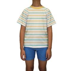 Horizontal Line Yellow Blue Orange Kids  Short Sleeve Swimwear