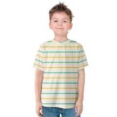 Horizontal Line Yellow Blue Orange Kids  Cotton Tee