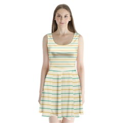 Horizontal Line Yellow Blue Orange Split Back Mini Dress