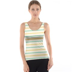 Horizontal Line Yellow Blue Orange Tank Top