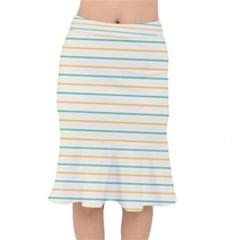 Horizontal Line Yellow Blue Orange Mermaid Skirt