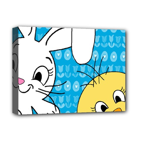 Easter bunny and chick  Deluxe Canvas 16  x 12
