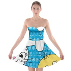 Easter bunny and chick  Strapless Bra Top Dress