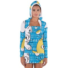 Easter bunny and chick  Women s Long Sleeve Hooded T-shirt