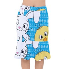 Easter Bunny And Chick  Mermaid Skirt