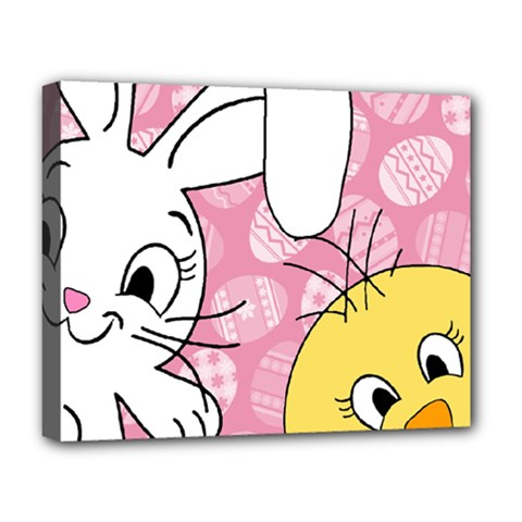 Easter bunny and chick  Deluxe Canvas 20  x 16