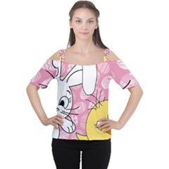 Easter bunny and chick  Women s Cutout Shoulder Tee