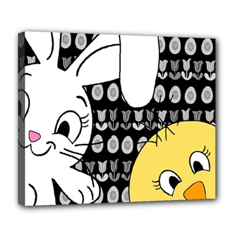 Easter bunny and chick  Deluxe Canvas 24  x 20