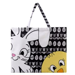 Easter Bunny And Chick  Zipper Large Tote Bag