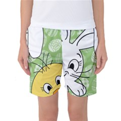 Easter Bunny And Chick  Women s Basketball Shorts