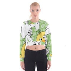 Easter bunny and chick  Cropped Sweatshirt