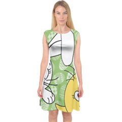 Easter bunny and chick  Capsleeve Midi Dress
