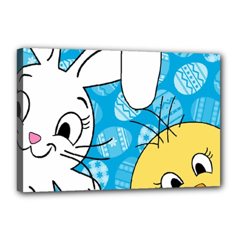 Easter bunny and chick  Canvas 18  x 12