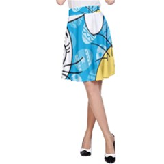 Easter bunny and chick  A-Line Skirt
