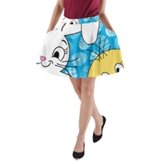 Easter bunny and chick  A-Line Pocket Skirt
