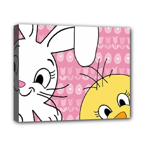 Easter bunny and chick  Canvas 10  x 8