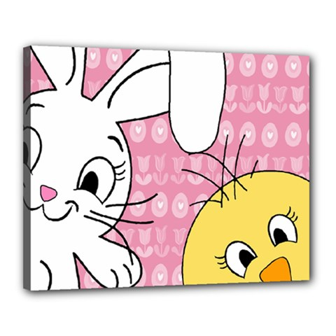 Easter bunny and chick  Canvas 20  x 16