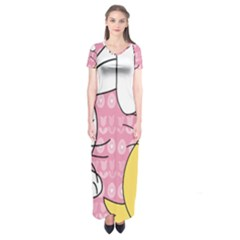 Easter bunny and chick  Short Sleeve Maxi Dress