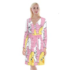 Easter Bunny And Chick  Long Sleeve Velvet Front Wrap Dress