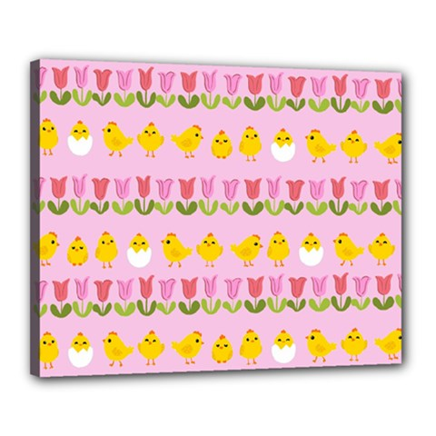 Easter - chick and tulips Canvas 20  x 16