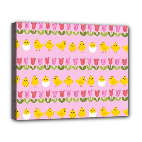 Easter - chick and tulips Deluxe Canvas 20  x 16