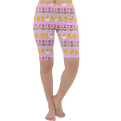 Easter - chick and tulips Cropped Leggings