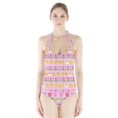 Easter - chick and tulips Halter Swimsuit