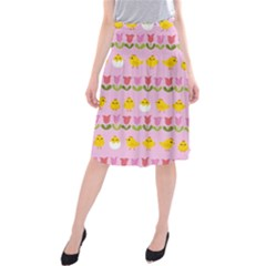 Easter - chick and tulips Midi Beach Skirt