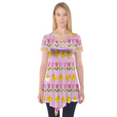 Easter - chick and tulips Short Sleeve Tunic