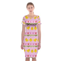 Easter - chick and tulips Classic Short Sleeve Midi Dress