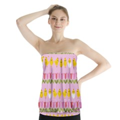 Easter - chick and tulips Strapless Top