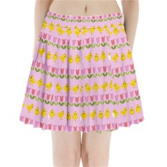 Easter - chick and tulips Pleated Mini Skirt