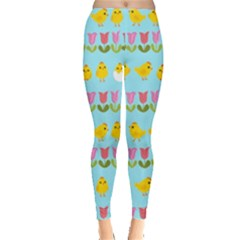 Easter - chick and tulips Leggings