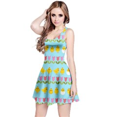 Easter - chick and tulips Reversible Sleeveless Dress