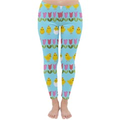Easter - chick and tulips Classic Winter Leggings