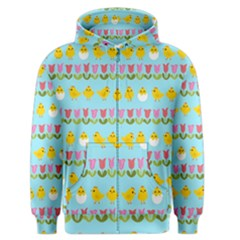 Easter - chick and tulips Men s Zipper Hoodie
