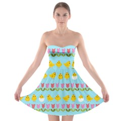 Easter - chick and tulips Strapless Bra Top Dress