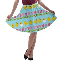 Easter - chick and tulips A-line Skater Skirt
