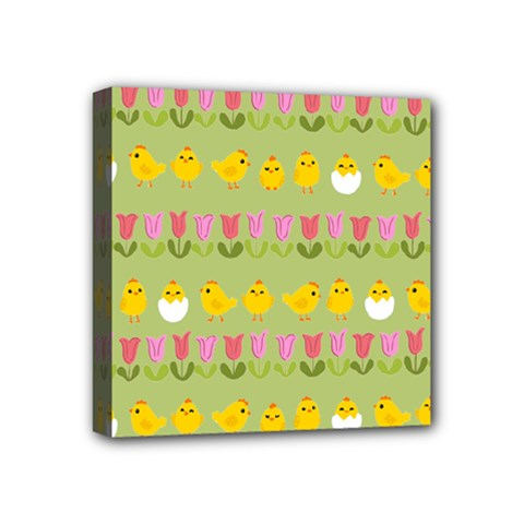 Easter - chick and tulips Mini Canvas 4  x 4