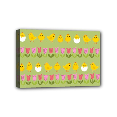 Easter   Chick And Tulips Mini Canvas 6  X 4