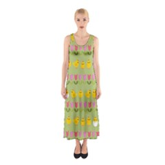 Easter - chick and tulips Sleeveless Maxi Dress