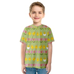Easter - chick and tulips Kids  Sport Mesh Tee