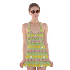 Easter - chick and tulips Halter Swimsuit Dress